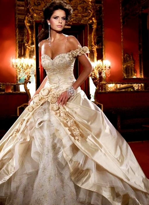 CHAMPAGNE WEDDING DRESSES PHOTOS PICTURES PICS IMAGES